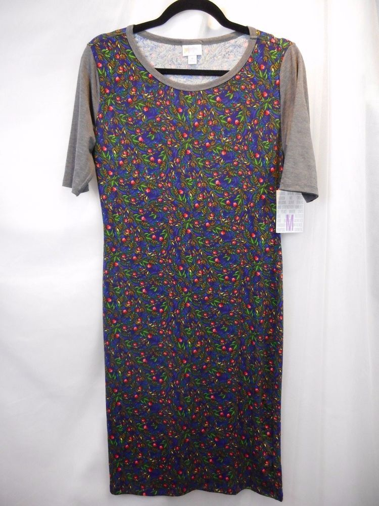 LuLaRoe Julia T Shirt Dress- M Medium- Charcoal Gray Navy Blue Red Tulip  Floral 7c8f349191b