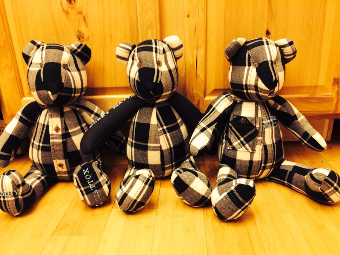 Another Memory Bear order for siblings from their father's  shirts!