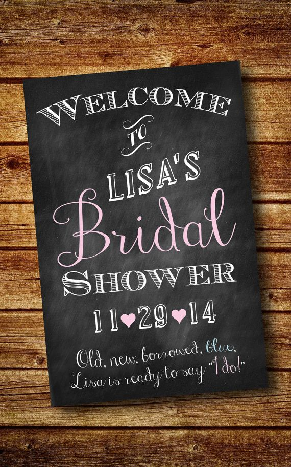 words to write in wedding shower card%0A Bridal Shower Welcome Sign Customized Digital by LuckyLittlePrints