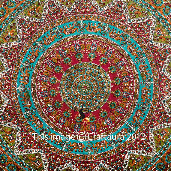 Mandala Tapestry Indian Tapestry Wall Hanging by CraftAuraHome, $19.99