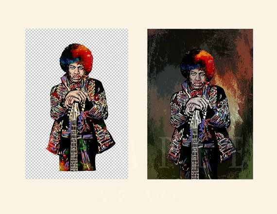 Jimi Hendrix.Digital download.Celebrity Art Portrait. by AszArt
