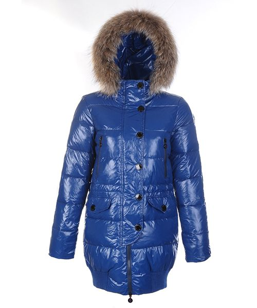 Moncler Loire Coat Women Fur Hoodie Zip With Button Blue! Only $279.9USD