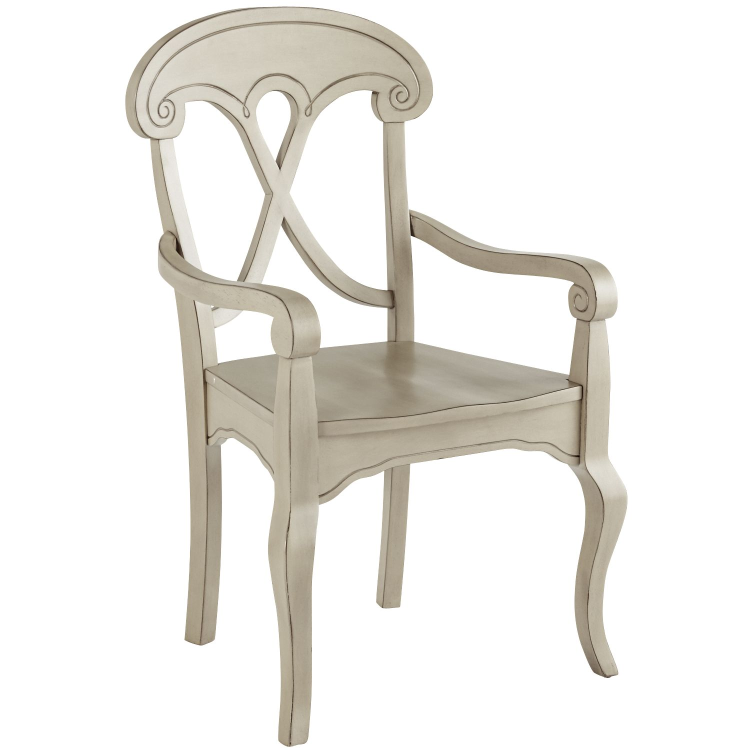 Hardwood distressed marchella armchair linen gray