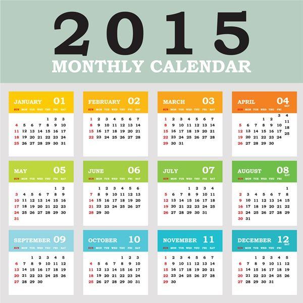 Colección de calendarios 2015 en vector gratis. Están en formato eps ...