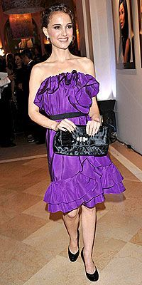 Natalie Portman   Natalie Portman   Pinterest Lanvin ruffled cocktail dress in purple