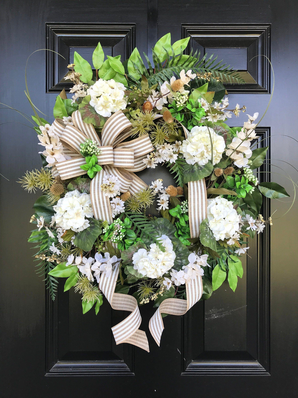 Farmhouse wreath for front door summer decor white