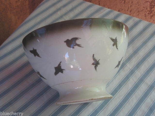 RARE Old French Large Swallows Cafe AU Lait Bowl Country Kitchen Lunéville | eBay
