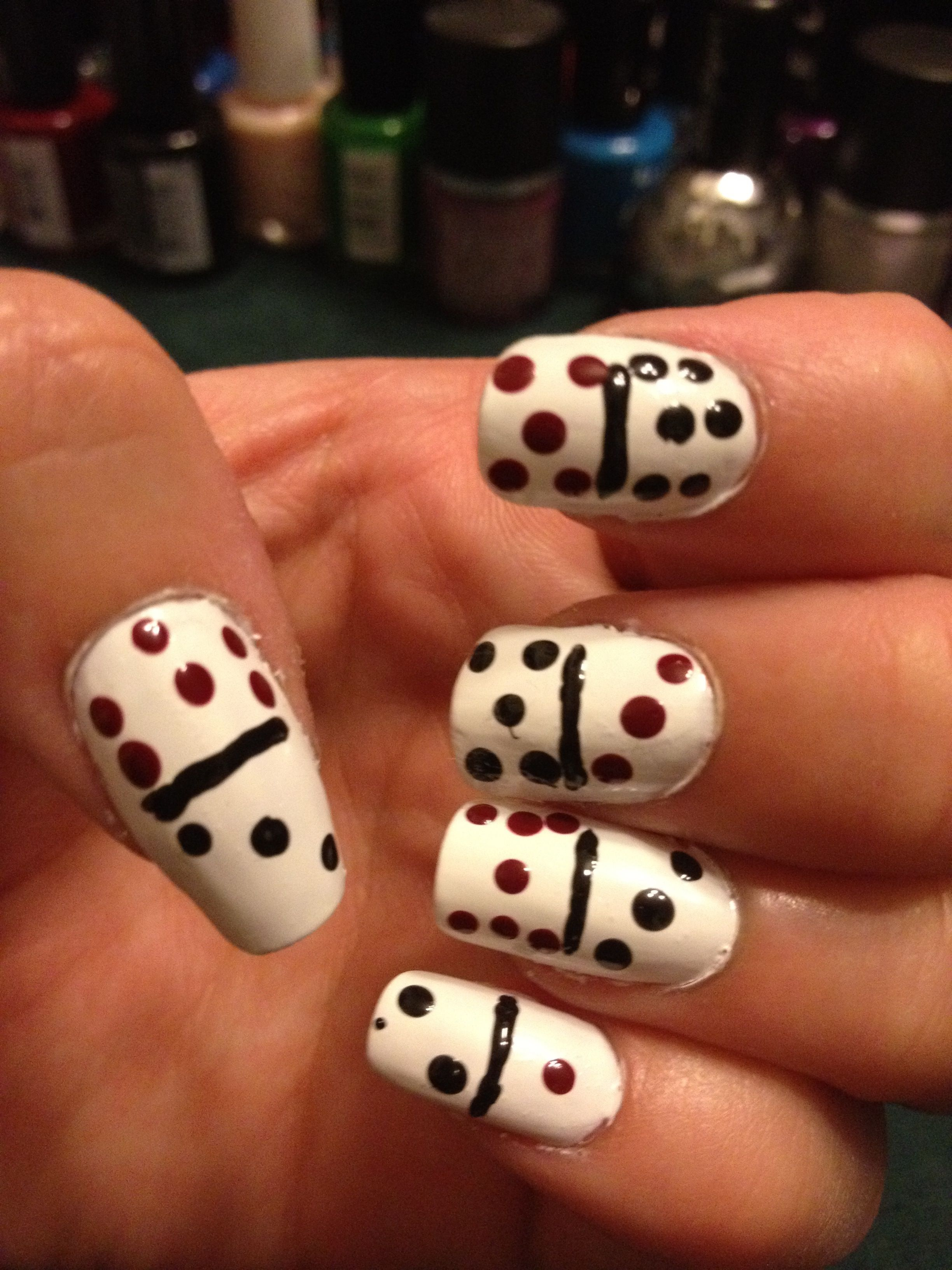 Way Cute Domino Nail Art I D Make The Dots Diffe Colors Like They Are For My Dominos