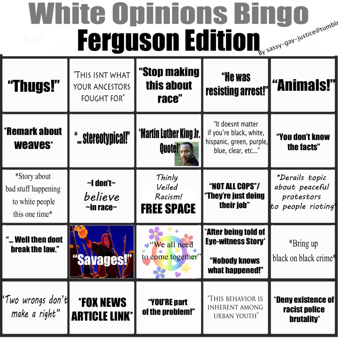 White Opinions Bingo Ferguson Edition Boy Do I Know