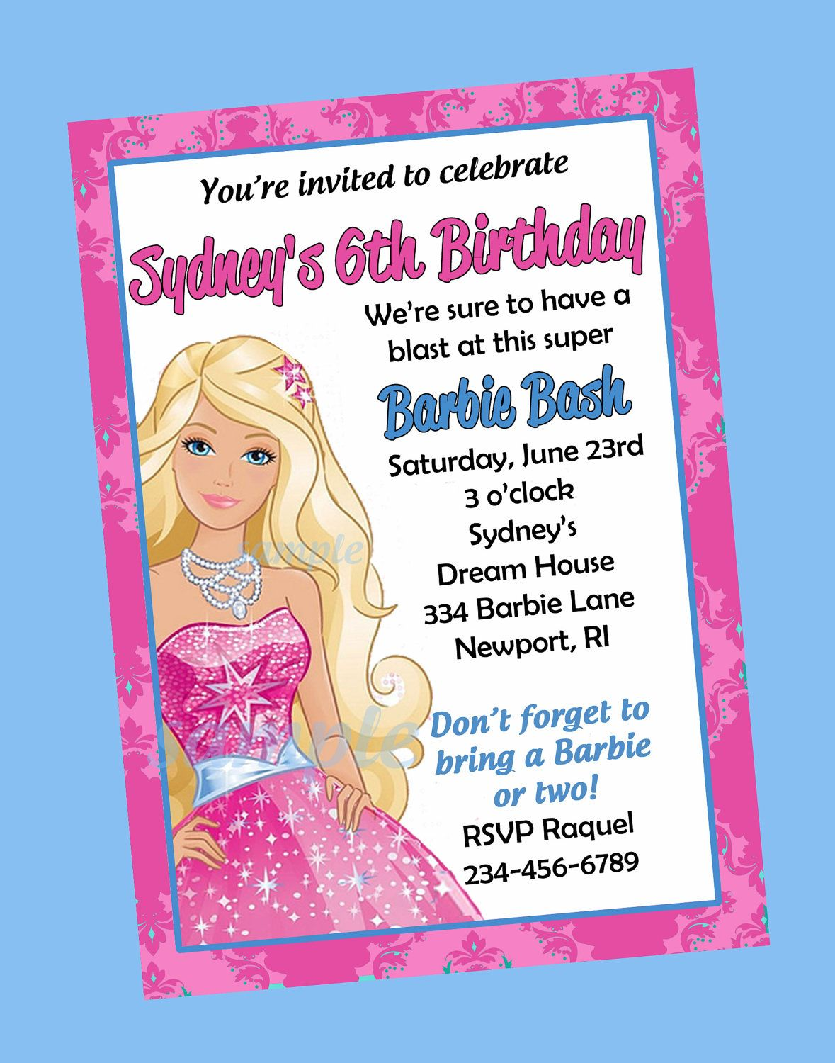 Free Print Barbie Invitations