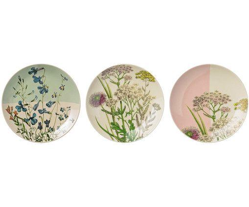 Teller-Set Botanic, 3-tlg Teller set, Blumen-designs und - ausgefallene geschirr und bucherschrank designs