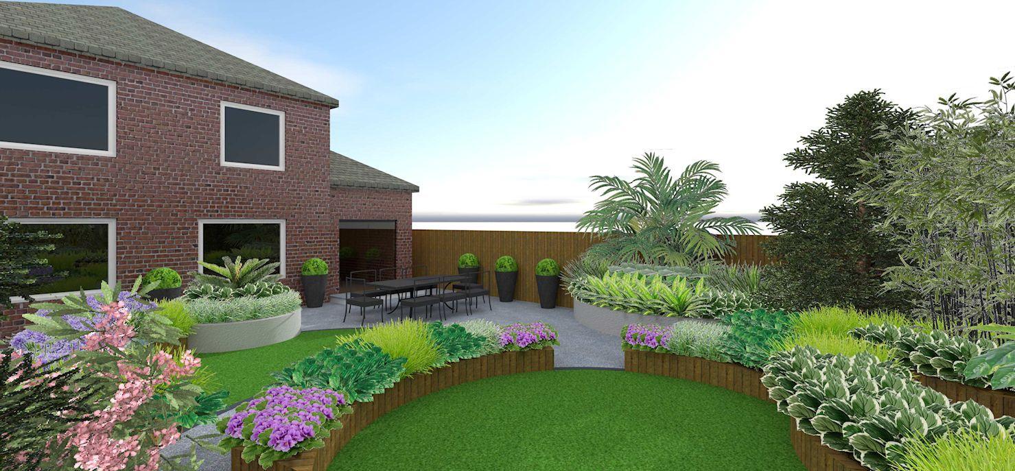 Contemporary, tropical garden design in Ascot, Berkshire. in 10