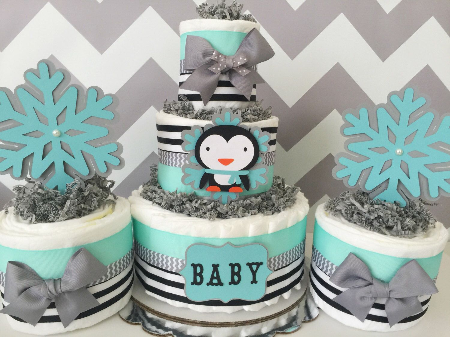 Penguin Winter Diaper Cake In Mint, Gray And Black, Penguin Baby Shower  Centerpieces By AllDiaperCakes On Etsy ...