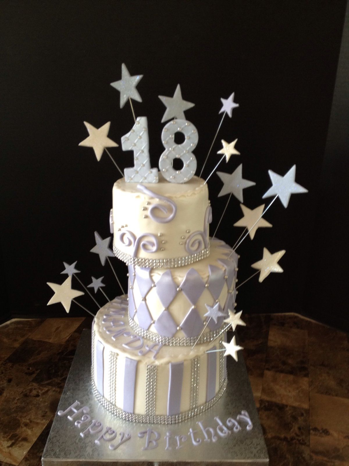 18 Birthday Cake white and purple Girl Cakes Pinterest 18th