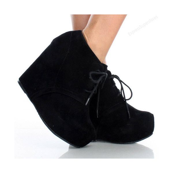 Womens Ankle Wedge Platform Heel Booties Oxford Lace Up Boots High Fashion Shoes found on Polyvore featuring polyvore, women's fashion, shoes, boots, ankle booties, platform wedge boots, lace up wedge ankle booties, wedge boots, lace up platform ankle booties and wedge booties