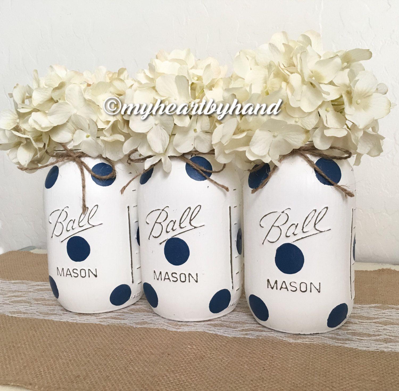 Nautical Theme Polka Dot Mason Jars, Painted Quart Ball Jars ...