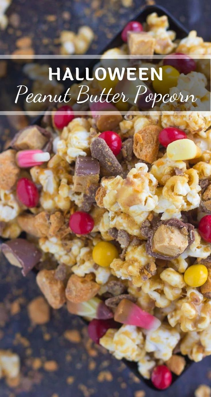 This Peanut Butter Candy Popcorn is the perfect sweet and