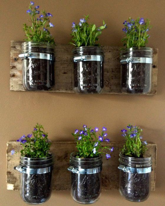 masonry jars on my deck rails maybe mason jar on indoor herb garden diy wall mason jars id=31551
