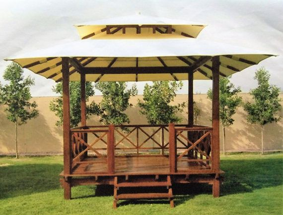 Teak Wood Pavilion Gazebo With Canvas Roof Garden Model Ubud House