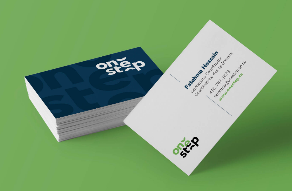 Onestep Business Cards In 2020 Brand Refresh Visual Identity System Web Design