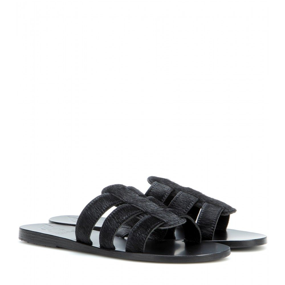 Ancient Greek Sandals - Kavvadia suede sandals - These handmade Ancient Greek Sandals are perfect for carefree summer days, whether you're in the city or countryside-bound. The black fur will age beautifully with time and wear, promising longevity as well as enduring comfort. seen @ www.mytheresa.com