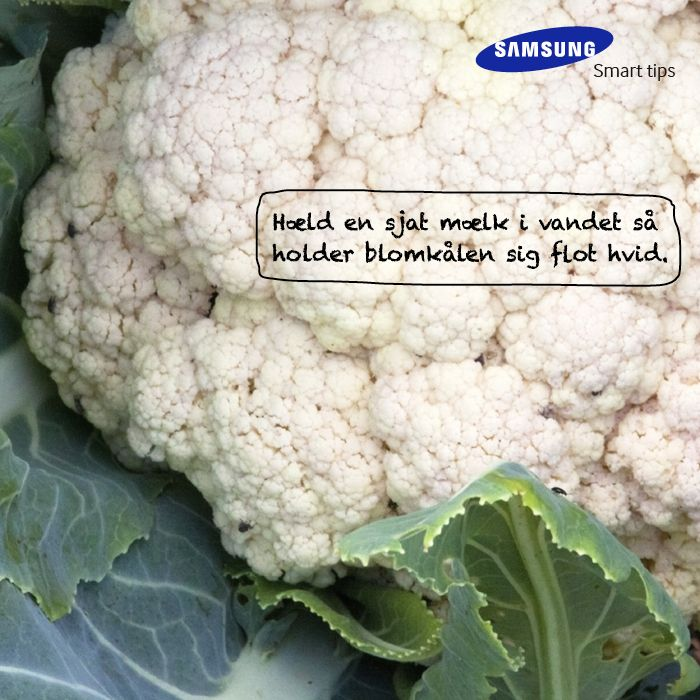 Hæld en sjat mælk i vandet så holder blomkålen sig flot hvid. Et smart tips fra det danske kokkelandslaget #SamsungSmartTips