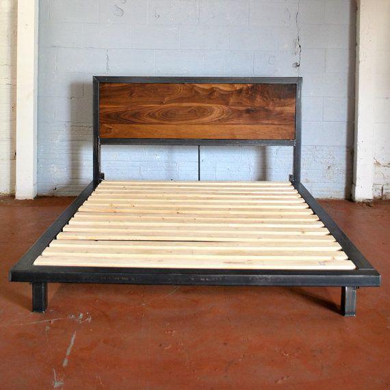 Kraftig plataforma cama con cabecero de nogal por deliafurniture ...