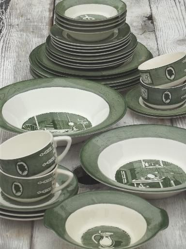 Kitchen China Dishes Children Play Colonial Homestead Green White Transferware Vintage Royal 132 00