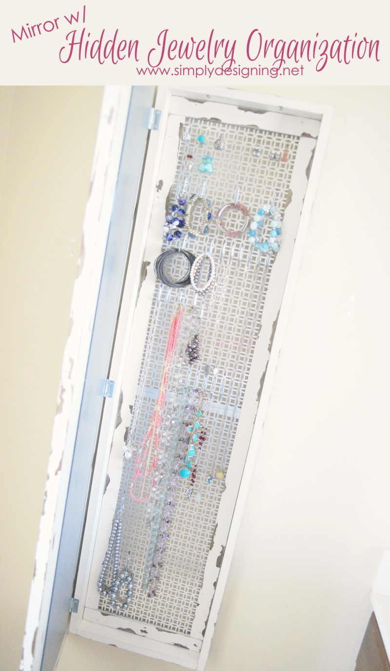 DIY Framed Mirror with Hidden Jewelry Organization Jewellery