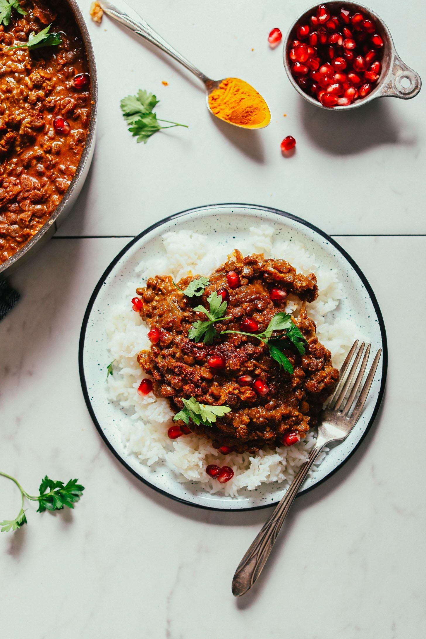 Hearty Lentil Fesenjān Pomegranate Walnut Stew