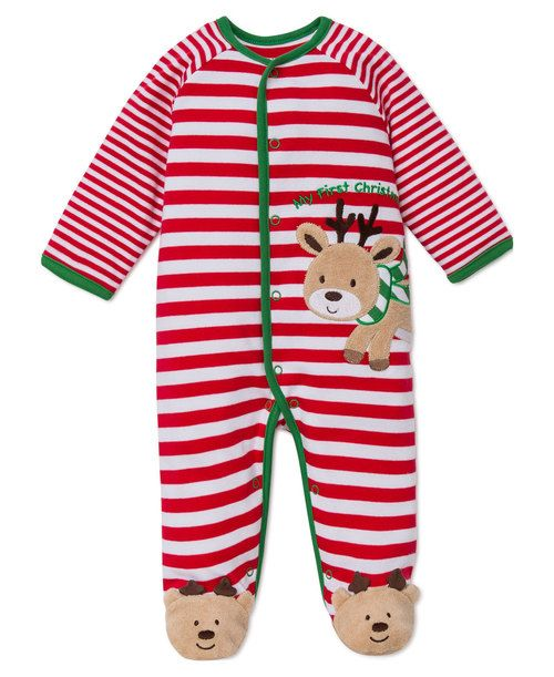 Little Me: My First Christmas Reindeer Stripe Footie - Holiday Gift ...