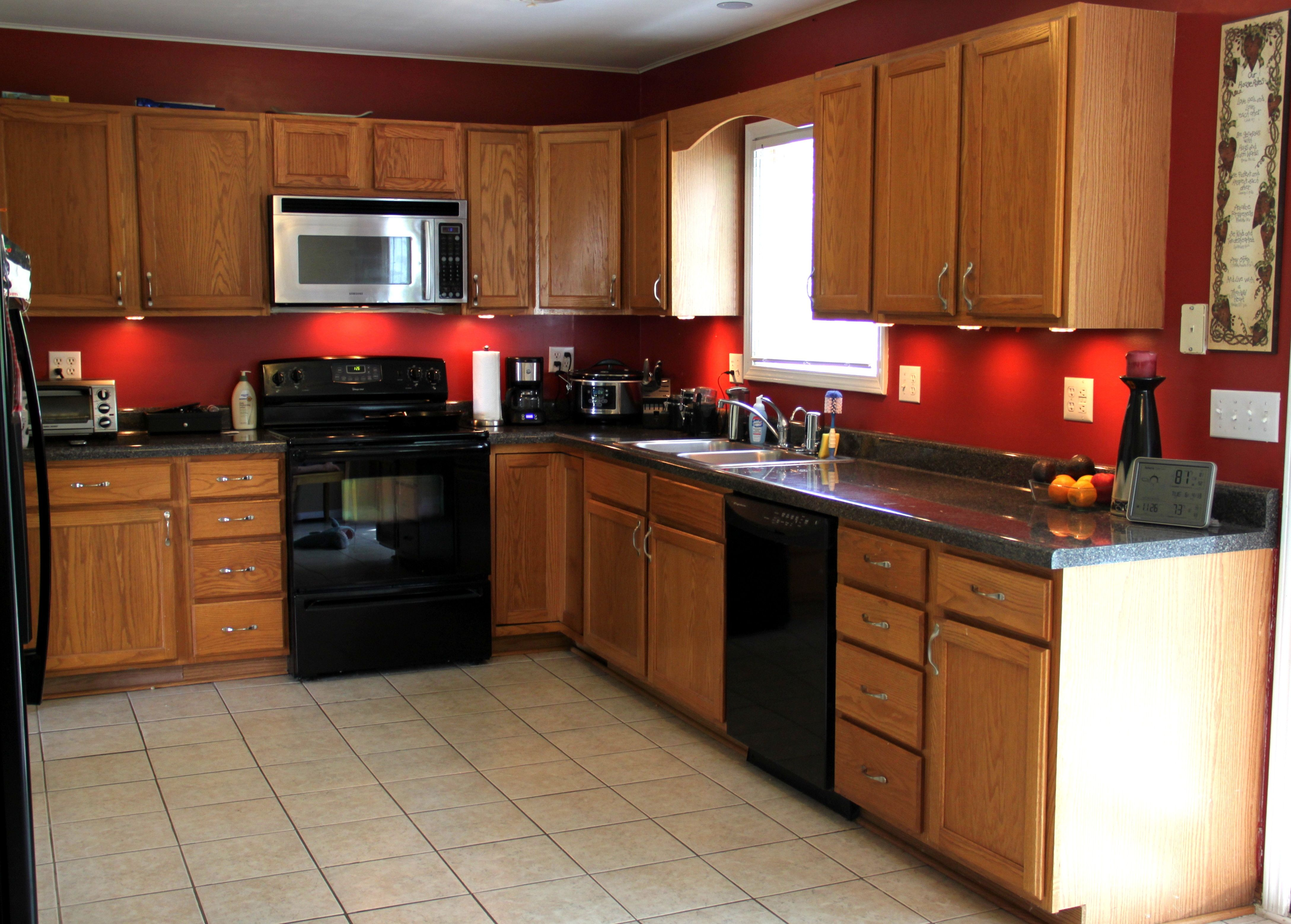 Image Result For Kitchen Red Walls Oak Cabinets Red Kitchen Cabinets Red Kitchen Walls Oak Kitchen Cabinets