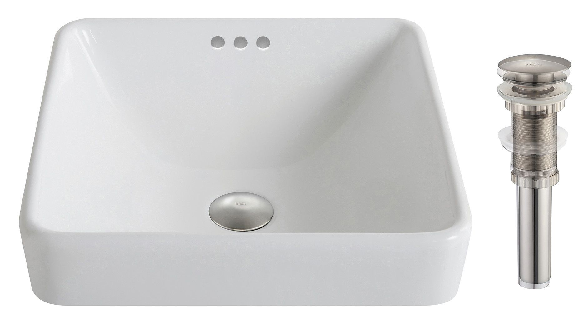 Elavo Ceramic Square Drop In Bathroom Sink With Overflow Drop In