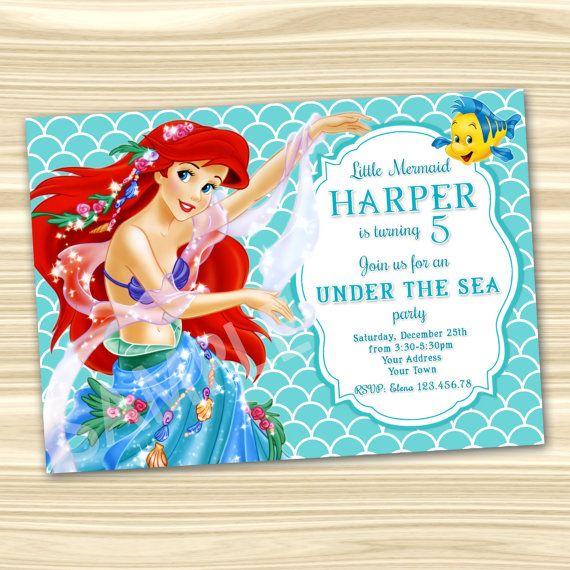 Mermaid Ariel Invitation Little Mermaid Invitation Diy