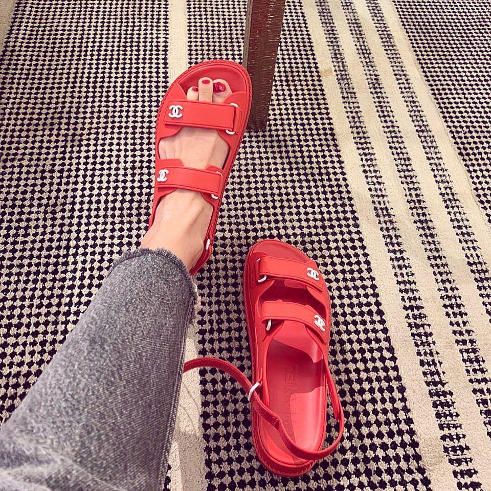 Hot sandals, Cozy shoes, Chanel sandals