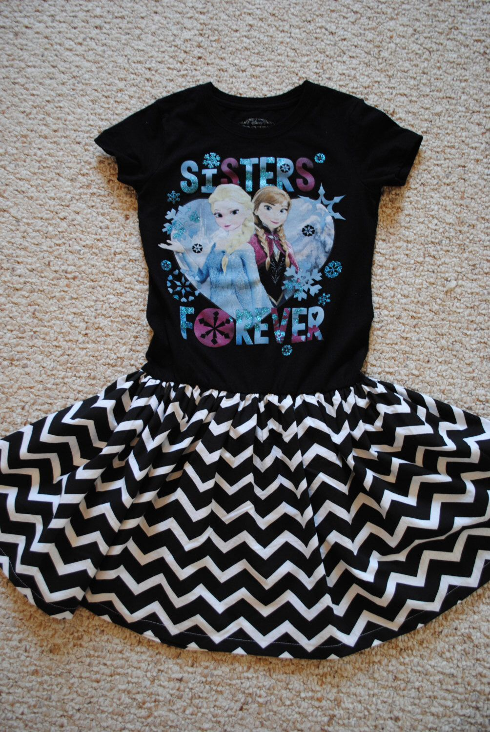 Black t shirt dress etsy - Girls Frozen Chevron Dress Disney Queen Elsa Princess Anna Black White T