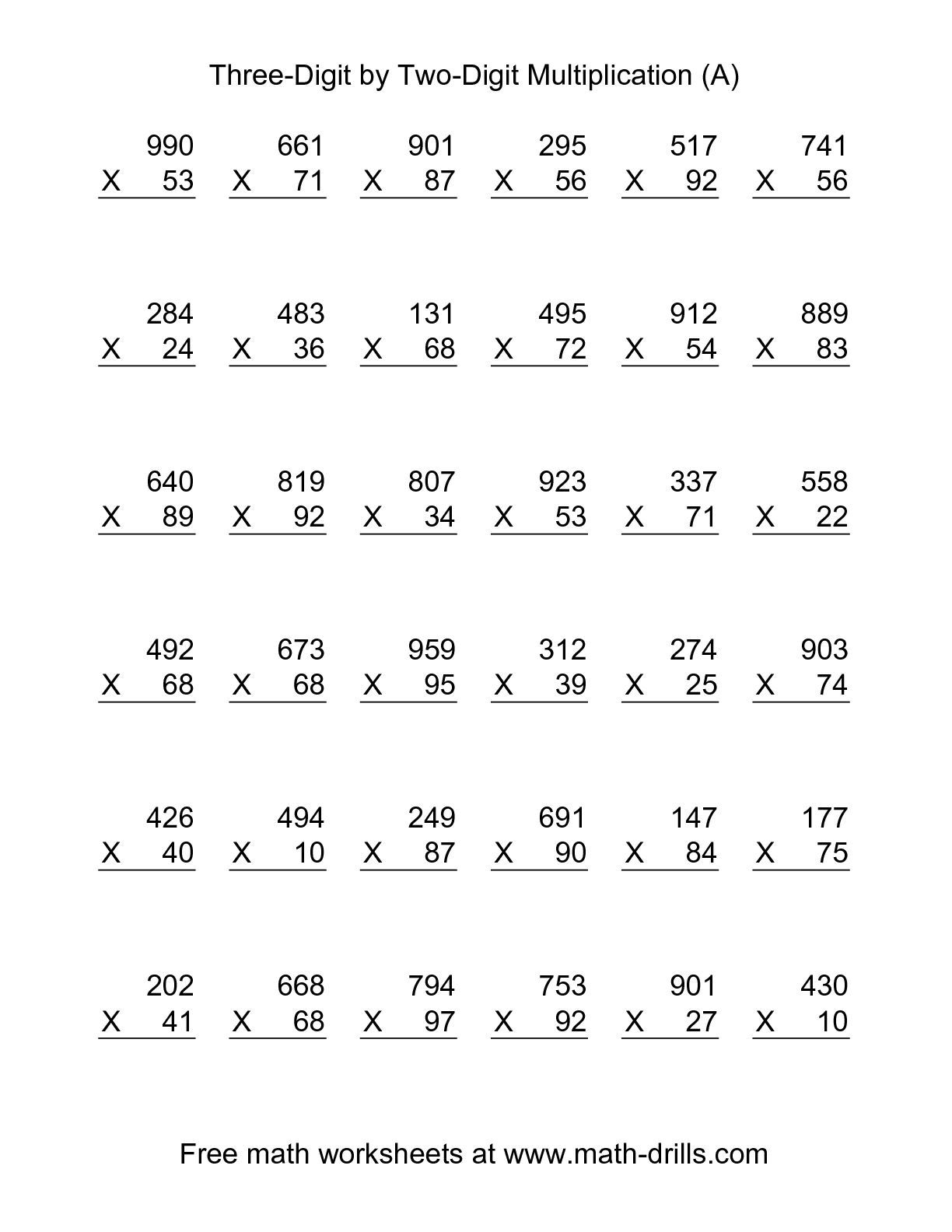 worksheet Multiplying Two Digit Numbers Worksheet the multiplying three digit by two 36 per page a math multiplication worksheet per