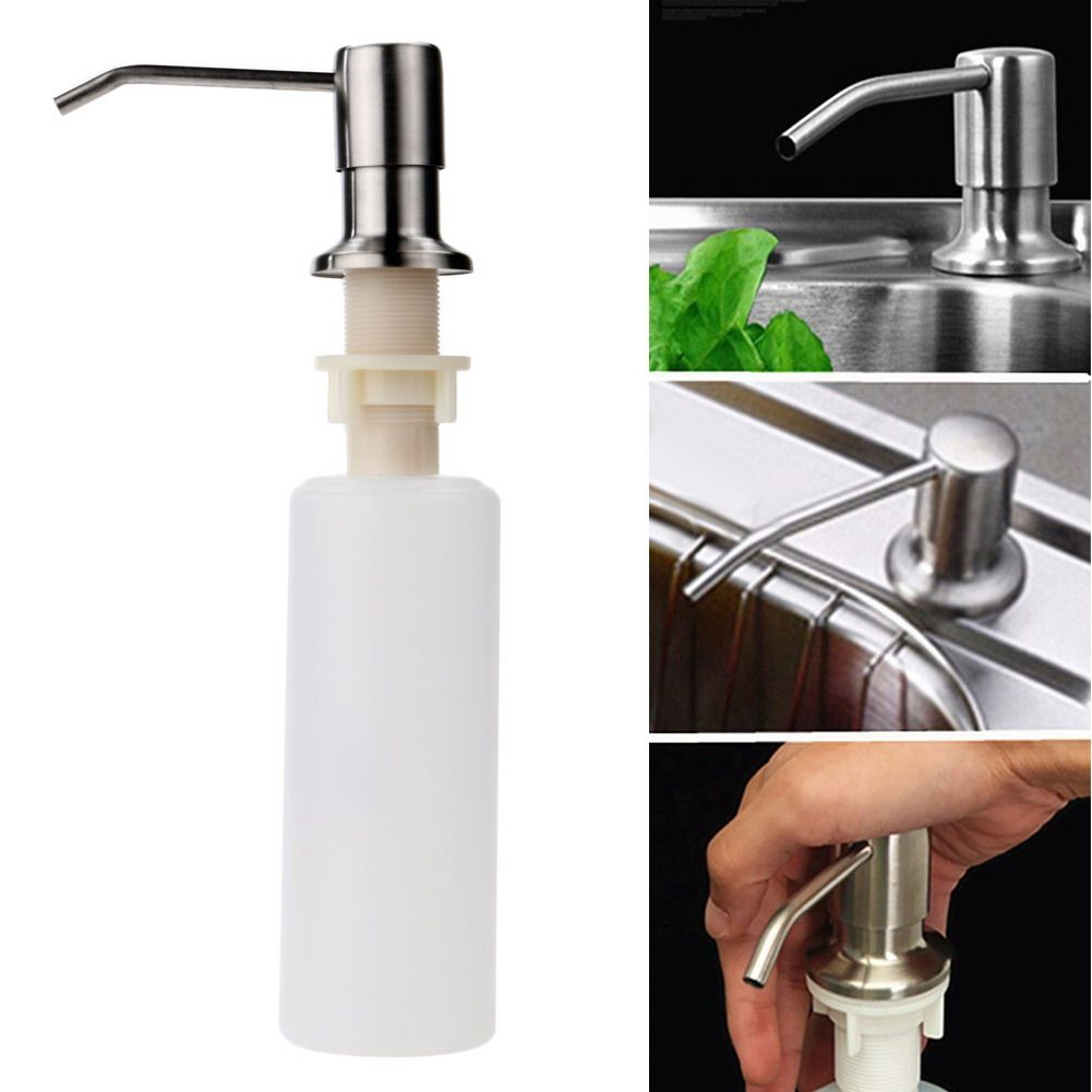 1pcs Kitchen Sink Soap Dispenser Stainless Steel Head Abs Bottle