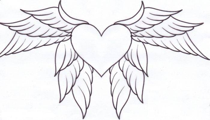 Hearts With Wings Coloring Pages Az Heart Yw8