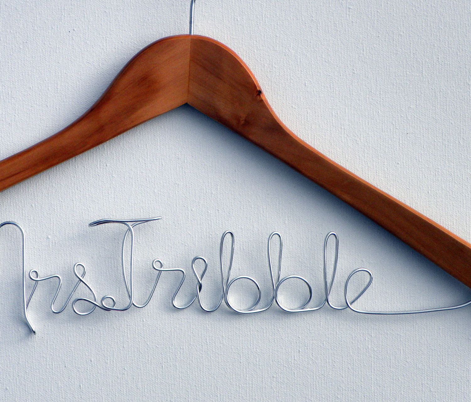 Wedding Dress Personalized Hanger Custom Wording Promo Item Prop My cousin got one of these at her wedding cute idea