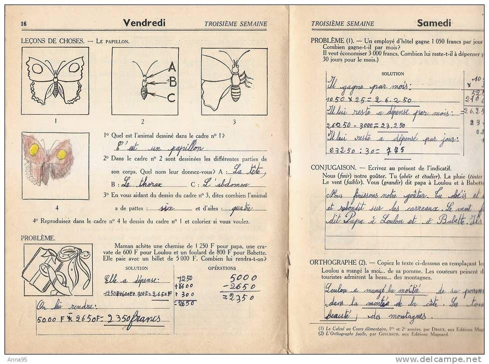 Ancien Cahier De Vacances 1954 Cours Elementaires Delcampe Net Cahier De Vacances Lecon De Choses Cahier