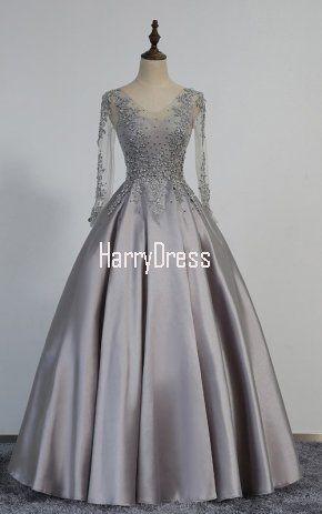 Princess V Neck Satin Tulle Floor Length Beading Long Sleeve Gray Prom Dress