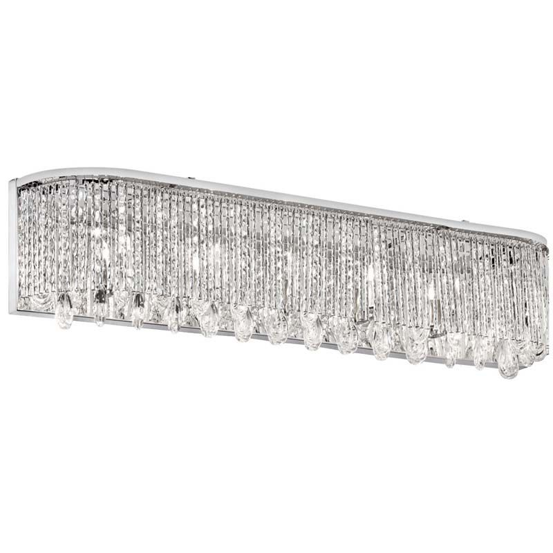 Halogen Bath Vanity Light Modern Clear Crystal Strand S Shade Polished Chrome