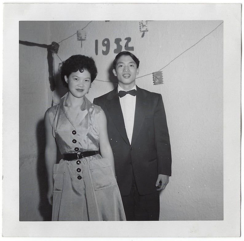 1950s Photo of a couple about to celebrate 1952 at a New