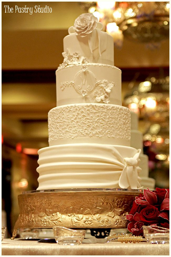 An all White Wedding Cake with Sugar-Paste Florals for an elegant ...
