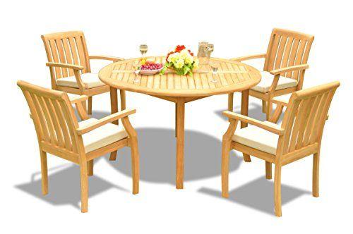 New 5 Pc Luxurious GradeA Teak Wood Outdoor Dining Set 52 Round