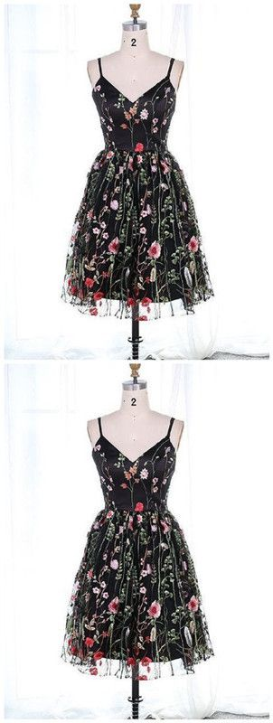 Homecoming Dresses Lace A-Line Spaghetti Straps Short Black Lace Homecoming Dress