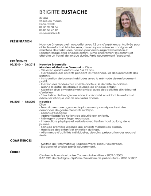 Template Cv Nounou All New Resume Examples Resume Template