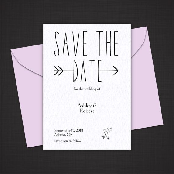 Wedding Save the Date Card - Save the Date Printable - Save the Date Template - Modern Arrow 7SMOD