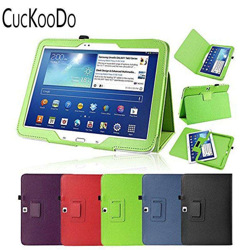 Barato Cuckoodo Folio Slim Funda De Cuero Para Samsung Galaxy Tab 3 P5200 10 1 Pulgadas Tablets Auto Sleep Wake Book Style Cubierta Del Soporte